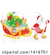 Clipart Of Santa Pulling A Sleigh Full Of Christmas Gifts Royalty Free Vector Illustration