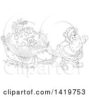 Clipart Of A Black And White Lineart Christmas Santa Claus Pulling A Sleigh Full Of Gifts Royalty Free Vector Illustration