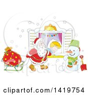 Clipart Of A Caucasian Boy Sleeping On Christmas Eve While Santa Peeks In His Window Royalty Free Vector Illustration