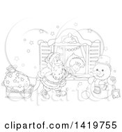 Clipart Of A Black And White Lineart Boy Sleeping On Christmas Eve While Santa Peeks In His Window Royalty Free Vector Illustration