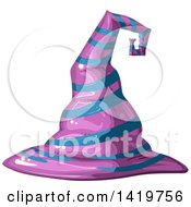 Clipart Of A Purple And Blue Striped Witch Hat Royalty Free Vector Illustration by merlinul