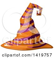 Clipart Of A Purple And Orange Striped Witch Hat Royalty Free Vector Illustration by merlinul