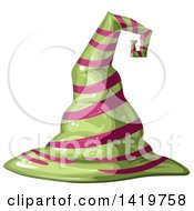 Clipart Of A Pink And Green Striped Witch Hat Royalty Free Vector Illustration by merlinul