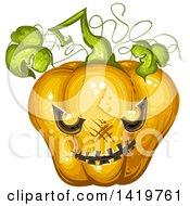 Carved Evil Halloween Jackolantern Pumpkin
