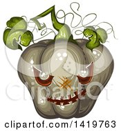 Clipart Of A Carved Evil Halloween Jackolantern Pumpkin Royalty Free Vector Illustration