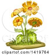 Clipart Of A Flowering Plant Royalty Free Vector Illustration
