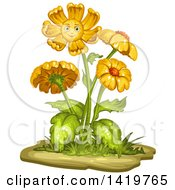 Flowering Plant With A Smiling Flower