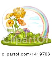 Clipart Of A Smiling Flowering Plant With Mushrooms And A Rainbow Royalty Free Vector Illustration
