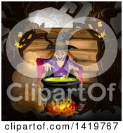 Clipart Of A Halloween Witch Stirring A Cauldron Bordered With Evil Ent Trees Royalty Free Vector Illustration