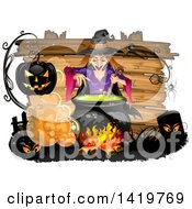 Clipart Of A Halloween Witch Stirring A Cauldron Over A Wood Sign Royalty Free Vector Illustration