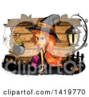 Clipart Of A Halloween Witch By A Cauldron Over Wood Boards Royalty Free Vector Illustration
