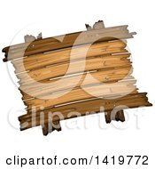 Clipart Of A Wooden Sign Royalty Free Vector Illustration
