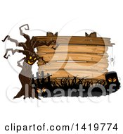 Clipart Of A Spooky Ent Tree With A Spider Eyes And Tombstone In Front Of A Wood Sign Royalty Free Vector Illustration