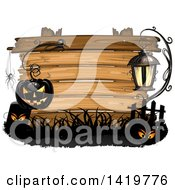 Clipart Of A Black Halloween Jackolantern Pumpkin Hanging From A Hook With A Spider Tombstone And Lamp Over A Wood Sign Royalty Free Vector Illustration
