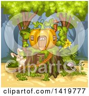 Clipart Of A Rabbit By A Pumpkin House On A Tree Stump Royalty Free Vector Illustration by merlinul
