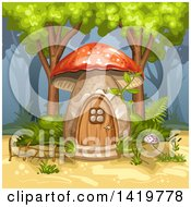 Clipart Of A Mushroom House In The Forest Royalty Free Vector Illustration