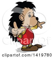 Clipart Of A Cartoon Hedgehog Wearing Clothes And Pointing Royalty Free Vector Illustration by dero