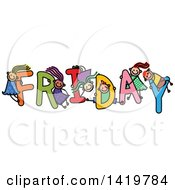 Clipart Of A Doodled Sketch Of Children Playing On The Word Friday Royalty Free Vector Illustration
