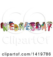 Clipart Of A Doodled Sketch Of Children Playing On The Word Wednesday Royalty Free Vector Illustration