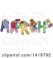 Doodled Sketch Of Children Playing On The Word March