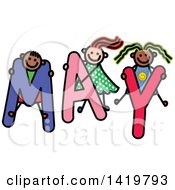 Doodled Sketch Of Children Playing On The Word May