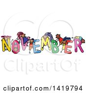 Clipart Of A Doodled Sketch Of Children Playing On The Word November Royalty Free Vector Illustration