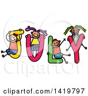 Clipart Of A Doodled Sketch Of Children Playing On The Word July Royalty Free Vector Illustration by Prawny