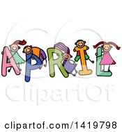 Doodled Sketch Of Children Playing On The Word April