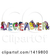 Doodled Sketch Of Children Playing On The Word December