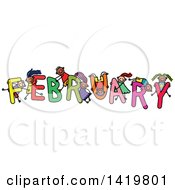 Clipart Of A Doodled Sketch Of Children Playing On The Word February Royalty Free Vector Illustration by Prawny