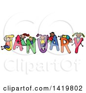 Clipart Of A Doodled Sketch Of Children Playing On The Word January Royalty Free Vector Illustration