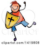 Clipart Of A Doodled Sketched Boy Running With A Shield Of Faith Royalty Free Vector Illustration