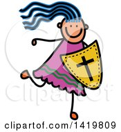 Clipart Of A Doodled Sketched Blue Haired Girl Running With A Shield Of Faith Royalty Free Vector Illustration
