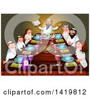 Clipart Of A Happy Jewish Family Celebrating The Feast Of Passover Around A Table Royalty Free Illustration