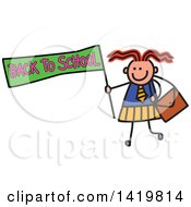 Doodled Sketched School Girl Holding A Back To School Flag