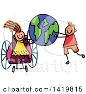 Clipart Of A Doodled Disabled Girl In A Wheelchair And Boy Holding Up Planet Earth Royalty Free Vector Illustration