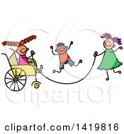 Clipart Of A Doodled Disabled Girl In A Wheelchair Playing Jump Rope With Her Friends Royalty Free Vector Illustration