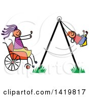 Doodled Disabled Mom In A Wheelchair Pushing Her Son In A Swing