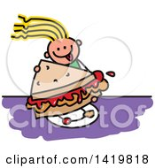 Clipart Of A Doodled Sketched Girl Eating A Giant Peanut Butter And Jelly Sandwich Royalty Free Vector Illustration