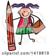 Clipart Of A Doodled Sketched School Girl With A Giant Pencil Royalty Free Vector Illustration by Prawny