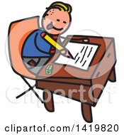 Clipart Of A Doodled Sketched School Boy Writing At A Desk Royalty Free Vector Illustration