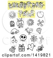 Coloring Page With Different Outlined Items