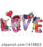 Clipart Of A Doodled Sketch Of Children Playing On The Word Love Royalty Free Vector Illustration
