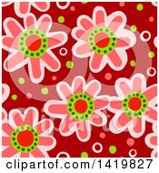 Clipart Of A Seamless Pattern Background Of 60s Styled Pink Daisy Flowers Royalty Free Illustration