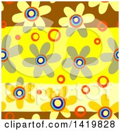 Clipart Of A Seamless Pattern Background Of 60s Styled Daisy Flowers Royalty Free Illustration