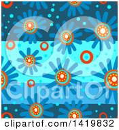 Seamless Pattern Background Of 60s Styled Blue Daisy Flowers