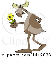 Cartoon Moose Walking Upright And Holding A Flower