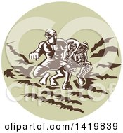 Clipart Of A Retro Woodcut Scene Of The Samoan Legend Tiitii Wrestling The God Of Earthquake And Breaking His Arm In A Green Circle Royalty Free Vector Illustration