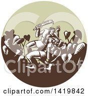 Clipart Of A Retro Woodcut Samoan Legend Wielding A Club Nifooti Weapon Defeating The God With Taro Plant In A Circle Royalty Free Vector Illustration by patrimonio