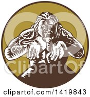 Clipart Of A Retro Woodcut Samoan God Tagaloa Holding His Hands Out In A Brown And Green Circle Royalty Free Vector Illustration by patrimonio